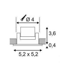 NEW TRIA MINI LED carré encastré alu brossé 3W 3000K 30° alim et clips ressorts