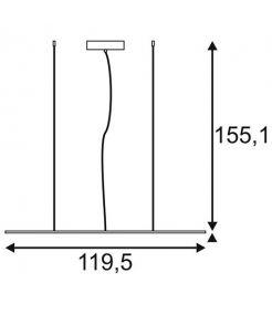 Suspension I-PENDANT PRO LED PANEL 1195x295mm blanc 230V 2700K