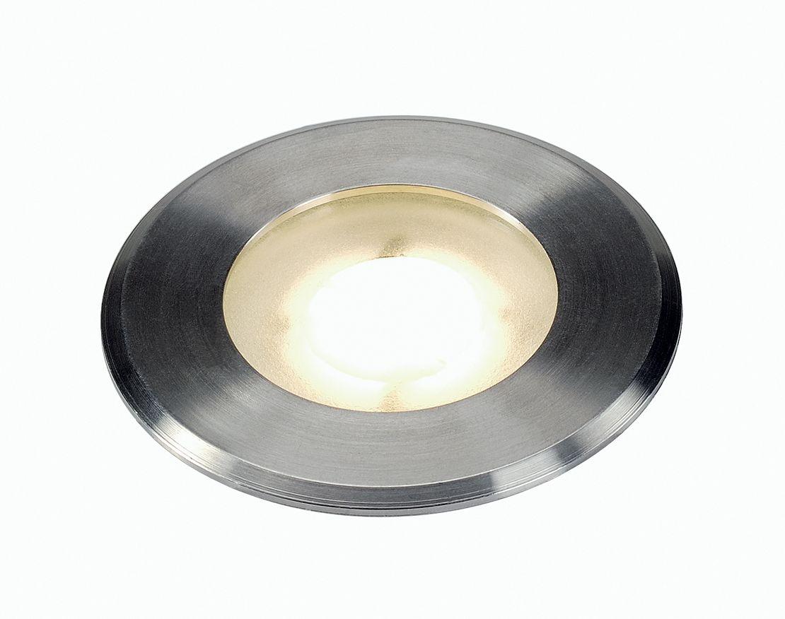 Encastr de sol dasar flat led 4 3 w led blanc de slv pour for Luminaire exterieur rond