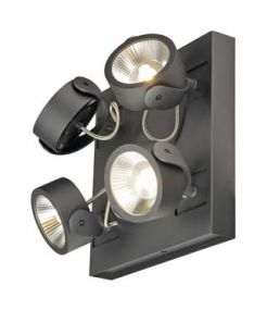 KALU LED 4 applique/plafonnier, carre, noir, LED 60W, 3000K, 60 degres