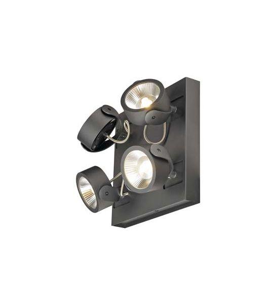 KALU LED 4 applique/plafonnier, carre, noir, LED 60W, 3000K, 60 degres