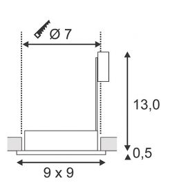 Spot carré encastrable chrome FGL OUT GU10