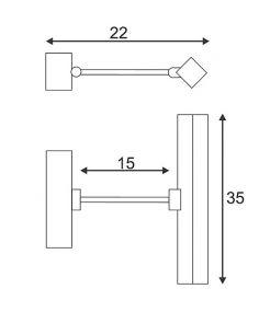 Luminaire Tableau bandeau led, laiton antique, avec band. 24 led blanches