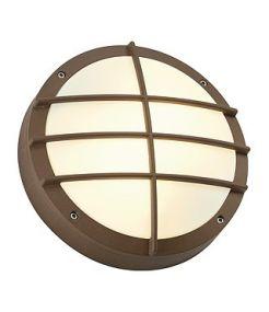 Bulan grille, applique ronde, fonte rouillee, e27, 2x40w max